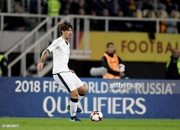 Alessio Romagnoli of Italy in action during the FIFA 2018 World Cup Qualifier between FYR Macedonia and Italy at Nacionalna Arena Filip II Makedonski...