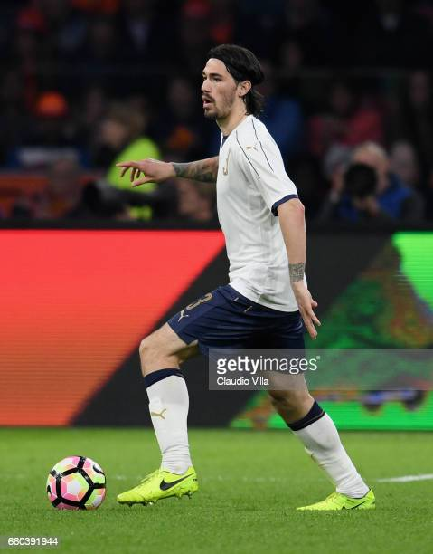 Alessio Romagnoli of Italy in action during the international friendly match between Netherlands and Italy at Amsterdam Arena on March 28 2017 in...