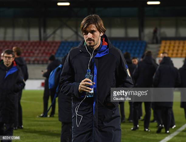 Alessio Romagnoli of Italy inspects the pitch ahead of tomorrow's FIFA 2018 World Cup Qualifier against between Liechtenstein v Italy on November 11...