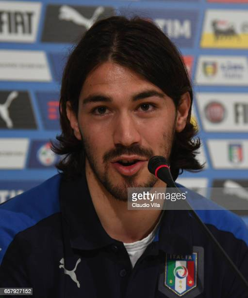 Alessio Romagnoli of Italy speaks with the media during the press conference at the club's training ground at Coverciano on March 26 2017 in Florence...