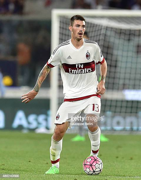 Alessio Romagnoli of Milan in action during the Serie A match between ACF Fiorentina and AC Milan at Stadio Artemio Franchi on August 23 2015 in...