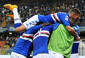 Alessio Romagnoli of UC Sampdoria celebrates with team mates after scoring his team second goal during the Serie A match between UC Sampdoria and AC...