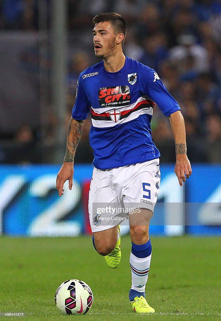 Alessio Romagnoli of UC Sampdoria in action during the Serie A match between Genoa CFC and UC Sampdoria at Stadio Luigi Ferraris on September 28 2014...