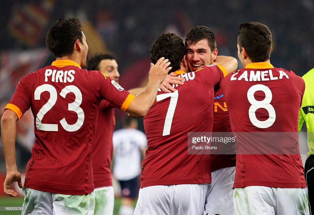 Alessio Romagnoli (2nd-R) with his teammates of AS Roma celebrates after scoring the second team's goal during the Serie A match between AS Roma and Genoa CFC at Stadio Olimpico on March 3, 2013 in Rome, Italy.