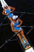 Alessio Sartori and Rossano Galtarossa of Italy paddle out before the start of their Men's Double Sculls on August 14 2004 during the Athens 2004...