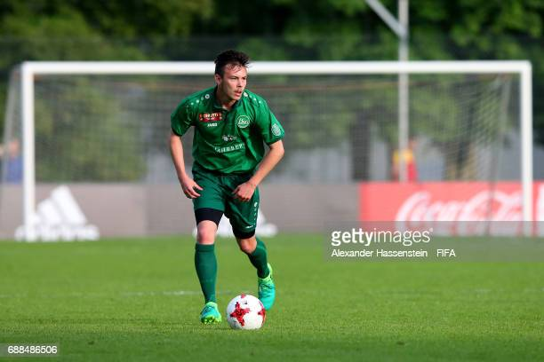 Alessio Schmid of St Gallen runs with the ball duirng the 1st round match between RSC Anderlech and St Gallen on day one of the Blue Stars/FIFA Youth...