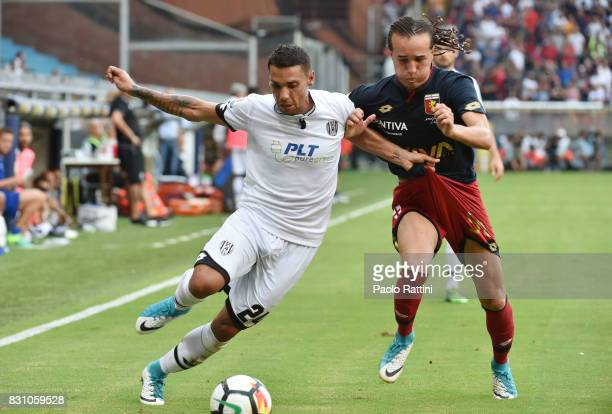 Alessio Vita and Diego Laxalt during the TIM Cup match between Genoa CFC and AC Cesena at Stadio Luigi Ferraris on August 13 2017 in Genoa Italy