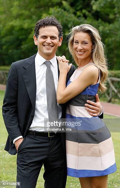 Alessio Zucchini and Mia Ceran attend 'Uno Mattina Estate' Tv Show photocall at RAI on May 20 2015 in Rome Italy