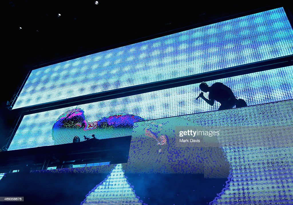 DJ Alesso (L) and singer Ryan Tedder of OneRepublic perform onstage during day 1 of the 2015 Coachella Valley Music & Arts Festival (Weekend 1) at the Empire Polo Club on April 10, 2015 in Indio, California.