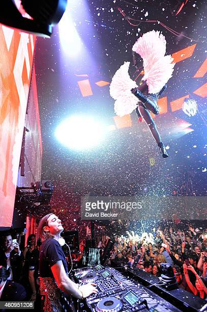 Alesso performs during the New Year's Eve celebration at the Light Nightclub at the Mandalay Bay Resort and Casino on December 31 2014 in Las Vegas...