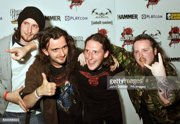 Alestorm arrive at the Indigo concert venue for the Metal Hammer Golden Gods awards at the O2 Arena in Greenwich south East London
