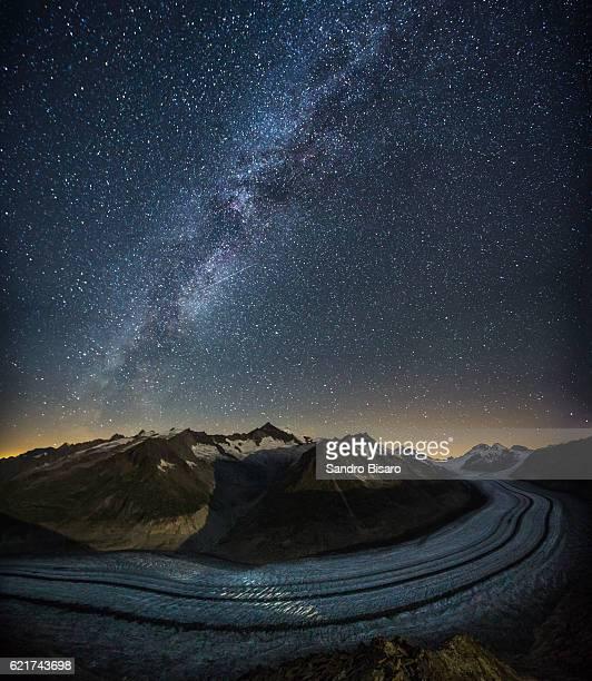 Aletsch Glacier at night with milky way