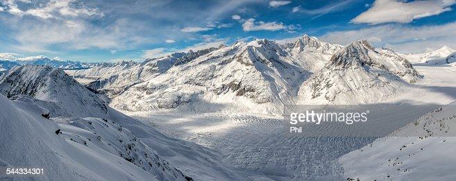 Aletsch Glacier with snowy Mountains, Switzerland