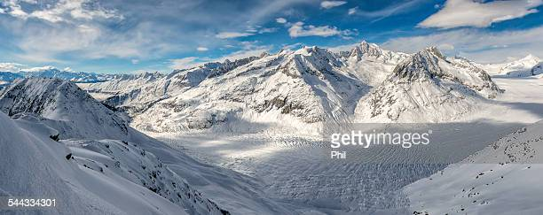 Aletsch Glacier with snowy Mountains, Switzerland