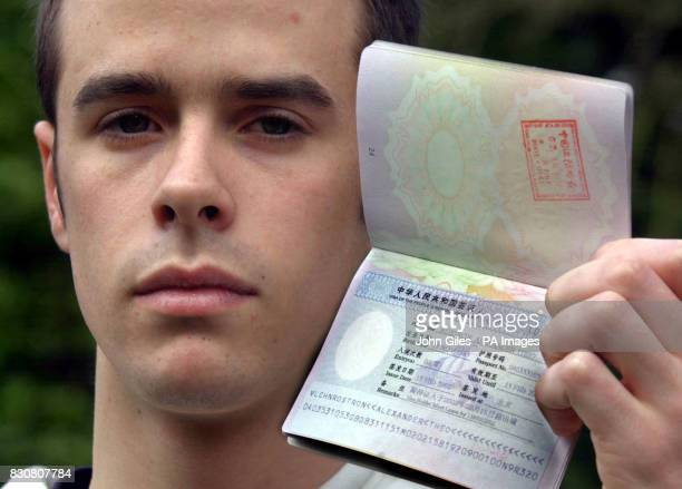 Alevel student Alexander back home in Leeds after being deported from China holds his GB Passport showing his cancelled Visa Rostron told how he was...