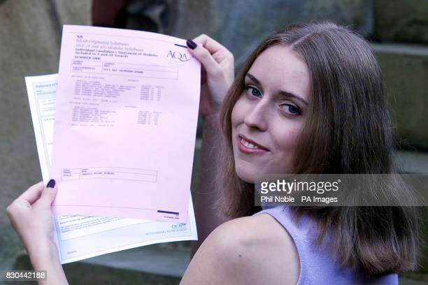 Alevel student Lucy Saunders Evans from the Cheadle Hulme school in Manchester celebrates her 6 A grade A level passes Lucy achieved grade A's in...