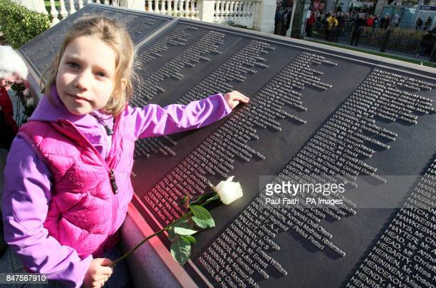 Alex Aaronson 6 from north America whose descendant Artie Frost 38 perished on the Titanic in the new memorial garden at Belfast City Hall on the...