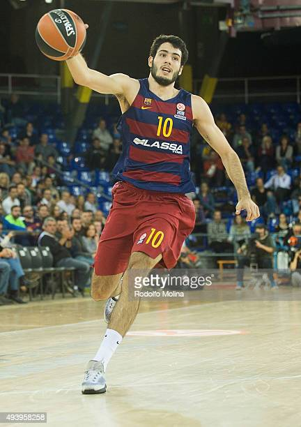Alex Abrines #10 of FC Barcelona Lassa in action during the Turkish Airlines Euroleague Regular Season date 2 game between FC Barcelona Lassa v...