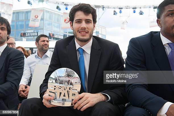 Alex Abrines #10 of FC Barcelona Lassa poses with Trophy of Rissing Star during Turkish Airlines Euroleague Awards Ceremony Final Four Berlin 2016 at...
