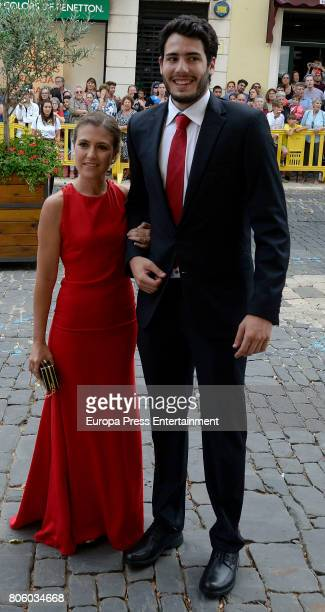 Alex Abrines and Carla Garcia attend the wedding of baskettball player Sergio Llull and Almudena Canovas on July 1 2017 in Menorca Spain