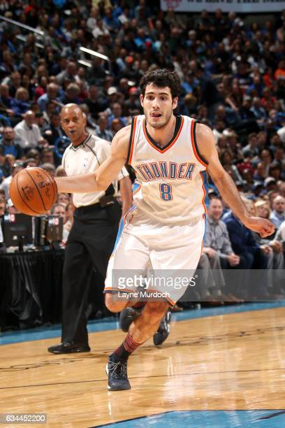 Alex Abrines of the Oklahoma City Thunder drives to the basket during the game against the Cleveland Cavaliers on February 9 2017 at Chesapeake...