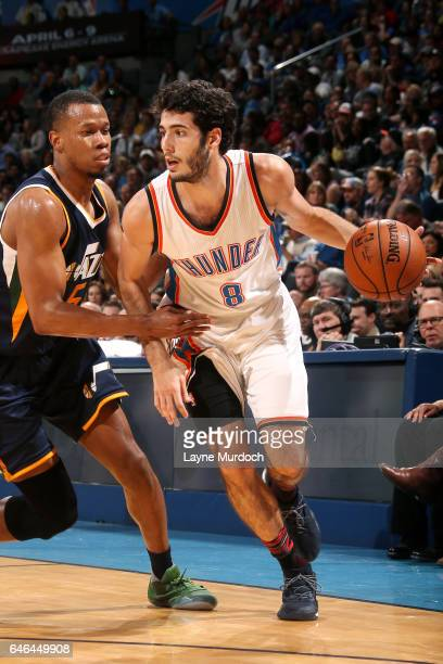 Alex Abrines of the Oklahoma City Thunder drives to the basket during the game against the Utah Jazz on February 28 2017 at Chesapeake Energy Arena...