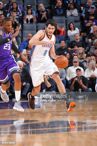 Alex Abrines of the Oklahoma City Thunder drives to the basket against the Sacramento Kings during the game on November 23 2016 at Golden 1 Center in...