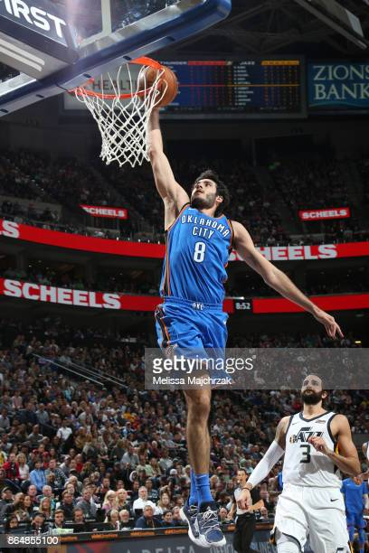 Alex Abrines of the Oklahoma City Thunder dunks against the Utah Jazz during the game on October 21 2017 at vivintSmartHome Arena in Salt Lake City...