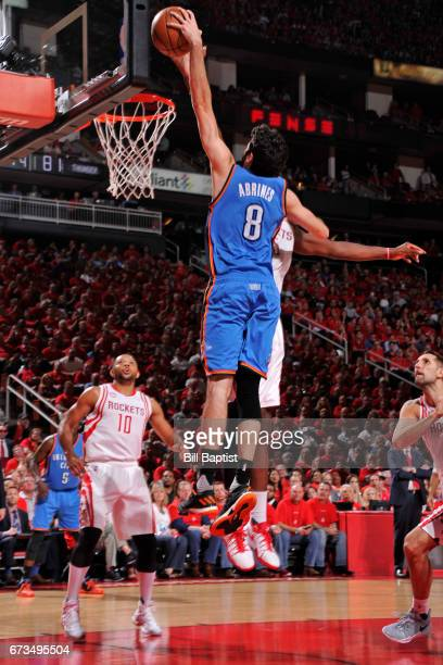 Alex Abrines of the Oklahoma City Thunder goes up for the dunk against the Houston Rockets in Game Five of the Western Conference Quarterfinals of...