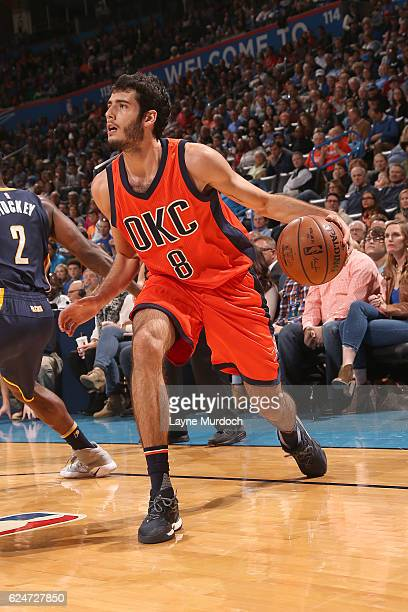 Alex Abrines of the Oklahoma City Thunder handles the ball against the Indiana Pacers on November 20 2016 at Chesapeake Energy Arena in Oklahoma City...
