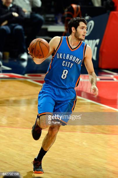 Alex Abrines of the Oklahoma City Thunder handles the ball against the Washington Wizards at Verizon Center on February 13 2017 in Washington DC