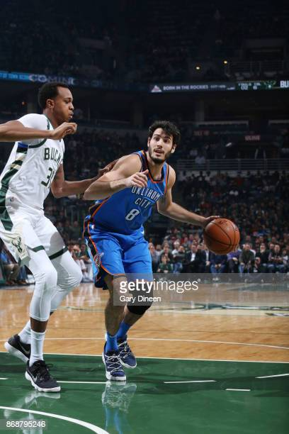 Alex Abrines of the Oklahoma City Thunder handles the ball against the Milwaukee Bucks on October 31 2017 at the BMO Harris Bradley Center in...