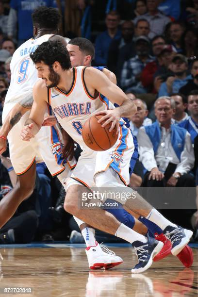 Alex Abrines of the Oklahoma City Thunder handles the ball against the LA Clippers on November 10 2017 at Chesapeake Energy Arena in Oklahoma City...