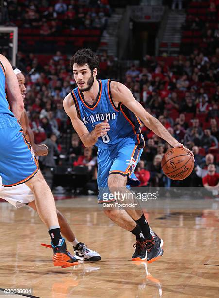 Alex Abrines of the Oklahoma City Thunder handles the ball during the game against the Portland Trail Blazers on December 13 2016 at the Moda Center...