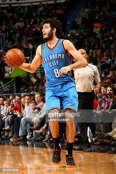 Alex Abrines of the Oklahoma City Thunder handles the ball during the game against the New Orleans Pelicans on December 21 2016 at the Smoothie King...
