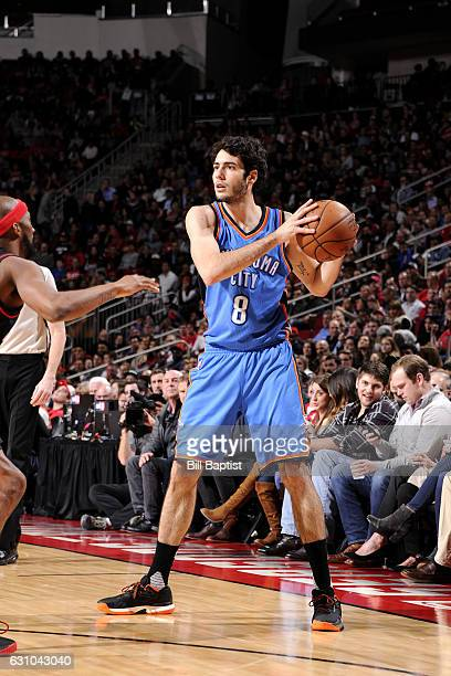 Alex Abrines of the Oklahoma City Thunder handles the ball during the game against the Houston Rockets on January 5 2017 at the Toyota Center in...