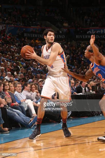 Alex Abrines of the Oklahoma City Thunder looks to pass the ball during a game against the New York Knicks on February 15 2017 at Chesapeake Energy...