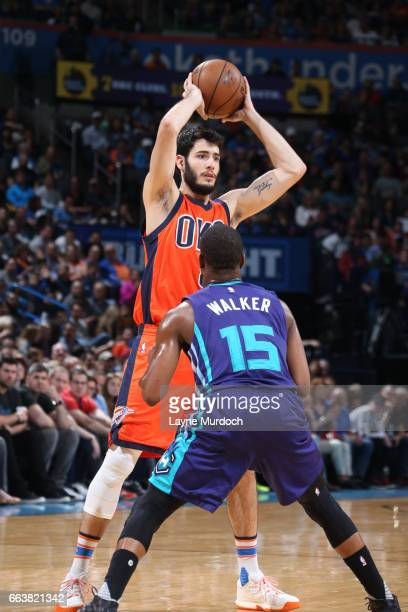Alex Abrines of the Oklahoma City Thunder passes the ball against the Charlotte Hornets on April 2 2017 at Chesapeake Energy Arena in Oklahoma City...