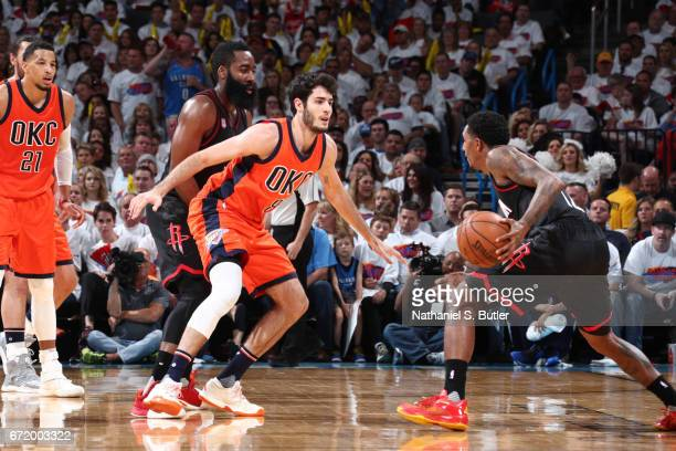 Alex Abrines of the Oklahoma City Thunder plays defense against the Houston Rockets during Game Four of the Western Conference Quarterfinals of the...