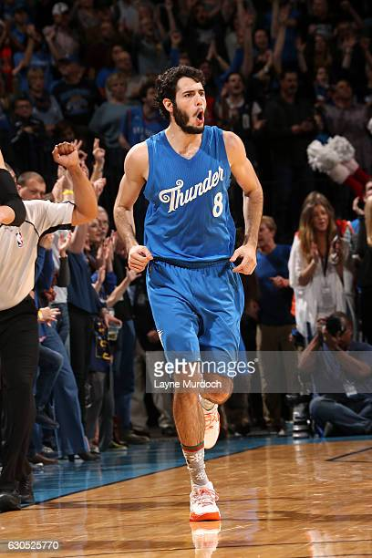 Alex Abrines of the Oklahoma City Thunder reacts during the game against the Minnesota Timberwolves on December 25 2016 at Chesapeake Energy Arena in...