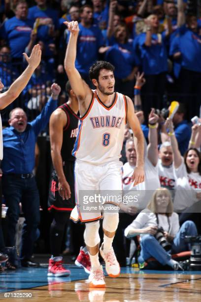 Alex Abrines of the Oklahoma City Thunder reacts during the game against the Houston Rockets during the Western Conference Quarterfinals of the 2017...