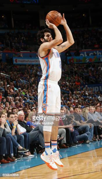 Alex Abrines of the Oklahoma City Thunder shoots the ball against the Philadelphia 76ers during the game on March 22 2017 at Chesapeake Energy Arena...