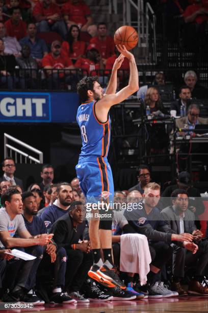 Alex Abrines of the Oklahoma City Thunder shoots the ball against the Houston Rockets in Game Five of the Western Conference Quarterfinals of the...
