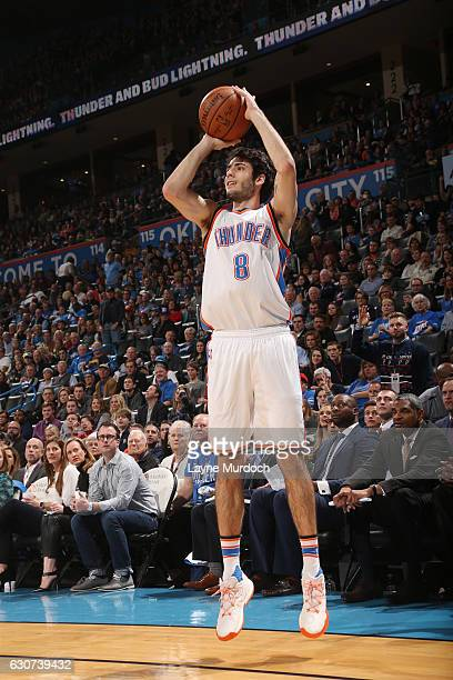 Alex Abrines of the Oklahoma City Thunder shoots the ball during a game against the LA Clippers on December 31 2016 at Chesapeake Energy Arena in...