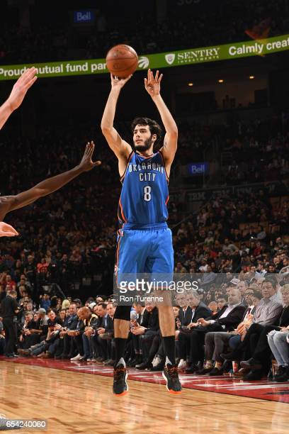 Alex Abrines of the Oklahoma City Thunder shoots the ball during a game against the Toronto Raptors on March 16 2017 at the Air Canada Centre in...