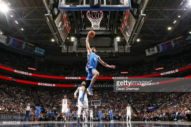 Alex Abrines of the Oklahoma City Thunder shoots the ball during a game against the Utah Jazz on October 21 2017 at Vivint Smart Home Arena in Salt...