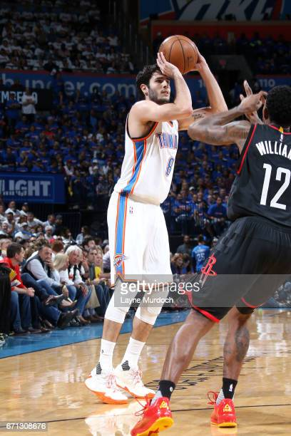 Alex Abrines of the Oklahoma City Thunder shoots the ball during the game against the Houston Rockets during the Western Conference Quarterfinals of...