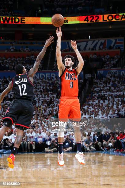 Alex Abrines of the Oklahoma City Thunder shoots the ball during the game against the Houston Rockets in Game Four during the Western Conference...