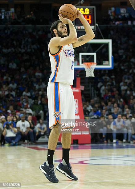 Alex Abrines of the Oklahoma City Thunder takes a shot against the Philadelphia 76ers at Wells Fargo Center on October 26 2016 in Philadelphia...