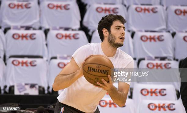 Alex Abrines of the Oklahoma City Thunder warms up before the first half of Game Three against the Houston Rockets in the 2017 NBA Playoffs Western...